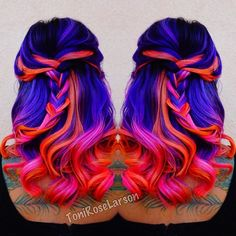 Neon Mermaid Hair Color by @ColorDollz Neon purple hair Neon blue hair neon pink…