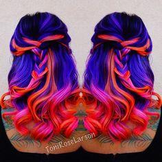 Neon Mermaid Hair Color by @ColorDollz Neon purple hair Neon blue hair neon pink…