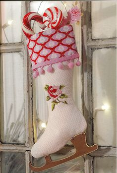 The perfect shabby chic, vintage inspired Christmas stocking. #Christmas #stocking #pink #shabby #chic #vintage #country #decor #decorations #rose #candy