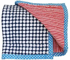 Alimrose Cot Quilt - Blue & Red Stripe - Cot quilt in blue & red stripe