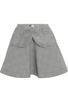 Sacai|Prince of Wales check bonded-cotton mini skirt|NET-A-PORTER.COM