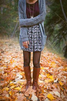 print skirt + knit cardigan + fish-net tights