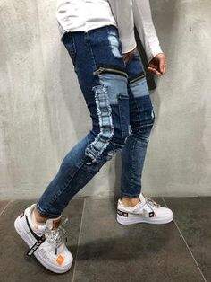 Men Skinny Fit Mean Zipper Ripped Jeans - Blue 4086 Ripped Skinny Jeans, Skinny Fit, Men Street, Street Wear, Streetwear Jeans, Vetement Fashion, Denim Jeans Men, Boys Jeans, Mens Suits