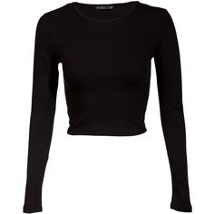 Miso Long Sleeve Crop T-Shirt (£10) ❤ liked on Polyvore