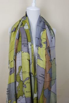 Flags scarf long scarf women scarf spring scarf map scarf uk world map scarf map scarf chunky and silky scarf by funnyscarf 1398 gumiabroncs Images
