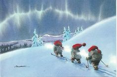 Northern Lights highly disturb trolls who romp through snow like Volkerswagons on Ice. Guardians of the Alps, Company M&M (muscle and might) devote life and limb to watch and report the dreaded and destructive Arctic Avalanches on North 40 by Northwest. Swedish Christmas, Christmas Gnome, Christmas Art, Vintage Christmas Cards, Fairy Tale Images, Kobold, Scandinavian Gnomes, Elves And Fairies, Winter Images