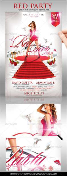 Red Party Flyer Template  #GraphicRiver         Elegant, classy, modern, deluxe, Red Party, to promote a Party In dress code RED, Club Party but you can also use it to promote a White / Red Carpet / Vip Night / Or any other Classy event, this ad will overload your nightclub, give it a try.   You can modify everything very easy and quick. Changing the color style, pictures, typo is no problem. It is well-assorted in folders and layers.   Model is not Included is just for the preview  …