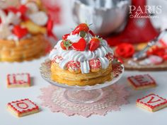 Strawberry St Honoré French Pastry for Valentine's Day - 1/12 scale miniature food