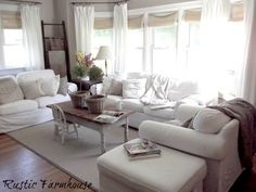 a family home love, love, love white comfy ektorp sofas, bamboo blinds, white curtains, grey walls. Yes :)