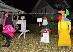 Homemade Yard Art Group Costume: My best friends and I did a Homemade Yard Art Group Costume for Halloween this year and posed in a yard for pictures at a Halloween party!  From left to