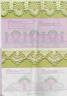 Guards patterns or crochet lace Filet Crochet, Crochet Lace Edging, Crochet Borders, Crochet Diagram, Crochet Stitches Patterns, Crochet Chart, Lace Patterns, Thread Crochet, Crochet Trim
