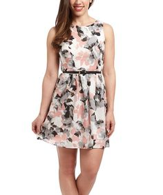 Another great find on #zulily! White & Blush Floral Belted Fit & Flare Dress by Speechless #zulilyfinds