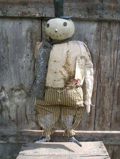 Primitive Grungy Joe Snow snowman Doll