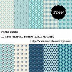 Paris Blues - Free Digital Paper Pack