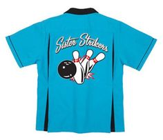 dd2212c6 Amazon.com: Sister Strikers Bowling Shirt Turquoise & Black Classic:  Clothing