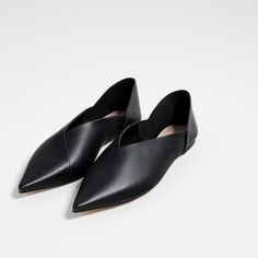 Image 3 of FLAT LEATHER SLINGBACK SHOES from Zara