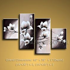 "High Quality Large 4 Panels Oil Painting On Canvas Contemporary Tulip Flowers 60"" x 38"" #2464"