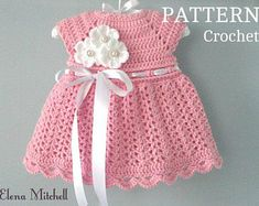 Items similar to Lovely Lavender Newborn - 3 months Crochet dress Boutique Baby Dress, Girl Party Dress, Baby Clothes on Etsy Crochet Baby Dress Pattern, Baby Girl Dress Patterns, Crochet Baby Clothes, Newborn Crochet, Baby Knitting Patterns, Baby Patterns, Crochet Patterns, Crochet Car, Blanket Crochet
