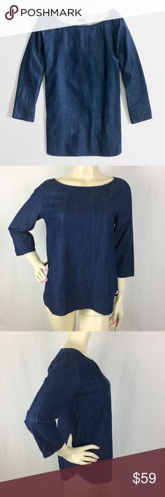 J.CREW Chambray Boatneck Blue Denim Top Size 4 Gently used,No flaws. 100%Cotton J. Crew Tops Blouses