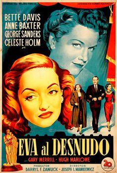 #AllAboutEve / #EvaAlDesnudo, 1950. Spanish movie poster, art by #Soligó.