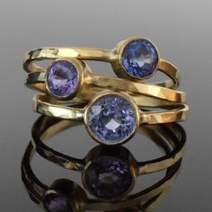Sapphire and 18K Gold Stack Ring Set. $1,350.00, via Etsy.