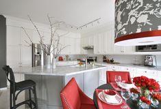 Suzie: Meredith Heron Design - White  red kitchen design with creamy white shaker kitchen ...