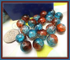50 Blue and Red Two Tone Crackle Glass Beads 10mm by sugabeads