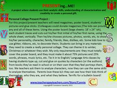 """Don;t let students keep their """"The Me Nobody Knows"""" faces; let them reveal """"The Me I Want You to Know.""""  http://www.teacherspayteachers.com/Product/Language-Arts-Personal-Collage-Present-Project  Great projects for bulletin boards."""