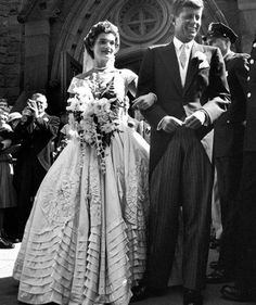 #JackieKennedy's dress is everything. #celebrityweddings