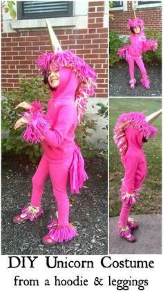 Make an easy unicorn costume from leggings and a hoodie and fulfill your child's fantastical dream of being a unicorn.  A unicorn is a fun and magical costume that's perfect for dress up, birthday parties, Halloween or even every day because the hoodie can be worn without the rest of the costume.