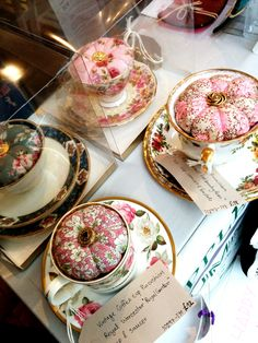 Tips' Accessories handcrafted tea cup pin cushion