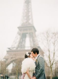 Paris wedding so charming with a Claire Pettibone Dress and Twigs & Honey headpieace!