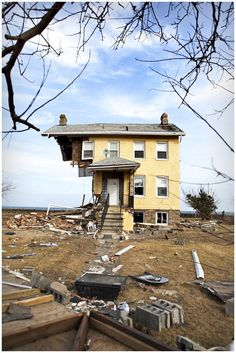 """/ Photo """"The Princess Cottage."""" by Nathan Blaney. The Iconic Union Beach NJ home that was torn nearly in two and has become a symbol of the power of Hurricane Sandy. The house has since been razed. Old Abandoned Buildings, Abandoned Property, Abandoned Mansions, Old Buildings, Abandoned Places, Kyoto, Haunted Places, Ghost Towns, Old Houses"""