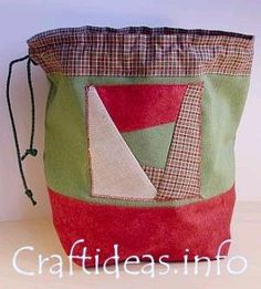 Patchwork Christmas Drawstring Gift Bag   AllFreeSewing.com