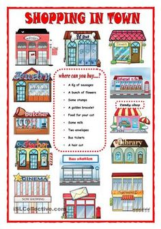 Vocabulary of shops in town. Sts answer the questions. Ana :-)) - ESL worksheets
