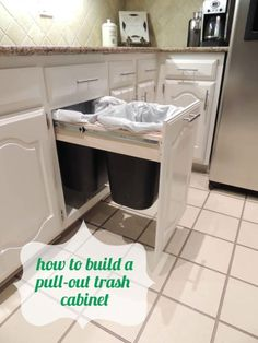 Trash Talk 2019 Super easy DIY for building a pull-out trash cabinet < The post Trash Talk 2019 appeared first on House ideas. Kitchen Redo, Kitchen Storage, Kitchen Remodel, Kitchen Design, Kitchen Bins, Diy Garden Furniture, Furniture Decor, Easy Diy Projects, Home Projects