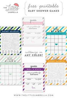 Change up these baby shower games in any color! Free Printable Friday   The Little Umbrella
