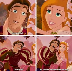 animated Prince Edward & animated Giselle, it's funny how he immediately wants to marry her the next day! - The wolf that kills Enchanted Movie, Giselle Enchanted, Disney Enchanted, Disney And More, Disney Love, Disney Magic, Disney Art, Disney Style, Disney And Dreamworks