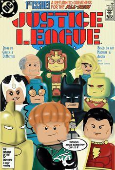 LEGO DC Justice League  Cover Giffen DeMatteis era 1987  Guy Gardner, Dr Fate, Shazam, Dra Light, Blue Beetle, Batman, Martian Manhunter, Black Cannary, Mister Miracle, Oberon, Justice League international