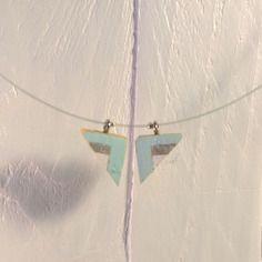 Collier blanc, argent et bleu clair
