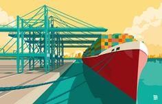 Illustratie gemaakt in Adobe Illustrator van de haven in Rotterdam. Je kunt de skyline van Rotterdam zien tussen het schip en de kade. Duidelijk is Erasmusbrug te zien in de verte.Is ook te bewonderen in het Haven Ziekenhuis te Rotterdam. (2e etage)