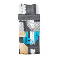 IKEA - PIMPLA, Dekbedovertrek met 1 sloop, , Katoen voelt lekker zacht aan tegen de kinderhuid.
