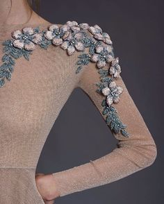 ^ This one is so gorgeous with the dimensional flowers and beaded leaves. I'd love to try this out on something really special. Tambour Beading, Tambour Embroidery, Bead Embroidery Patterns, Couture Embroidery, Embroidery Fashion, Hand Embroidery Designs, Embroidery Dress, Embroidery Applique, Couture Fashion