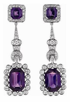 A Pair of Diamond and Amethyst Ear Pendants
