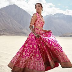 When you have Banarasi silk lehenga, you don't need too much else! And these latest Banarasi lehenga designs are going to prove just that! Yep, if you are a fan of Banarasi as much as we are, then get. Banarasi Lehenga, Pink Lehenga, Anarkali, Lengha Choli, Lehnga Dress, Brocade Lehnga, Gown Dress, Dress Shoes, Shoes Heels