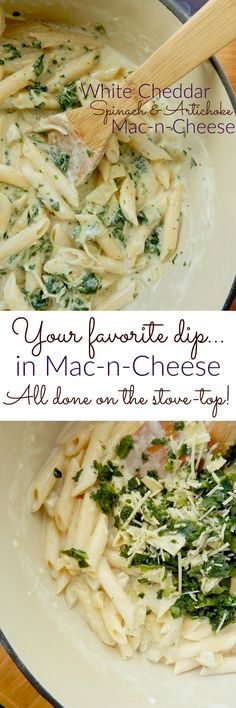 White Cheddar Spinach & Artichoke Mac-n-Cheese.America's favorite hot dip and America's favorite side dish combined into a delicious macaroni and cheese! (Mac N Cheese Bites) Easy Pasta Recipes, Easy Meals, Dinner Recipes, Weeknight Meals, Dinner Ideas, Bake Mac And Cheese, Macaroni And Cheese, White Cheddar, Party Food And Drinks