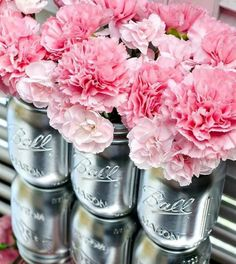 """Country glamour wedding idea...I love the """"glam"""" of the silver paint over the country mason jars."""