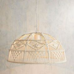 """""""Macrame"""" comes from a century Arabic weavers' word, migramah, meaning """"fringe."""" Handcrafted of iron and cotton, our Dome Macrame Pendant lends boho-chic charm and a casual glow to any room it inhabits. Lampe Art Deco, Modern Master Bathroom, Boho Home, Macrame Cord, Modern Bohemian, Boho Chic, Macrame Projects, Light Project, Bedroom Lighting"""