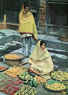 Around 60 years ago in Kathmandu winter, these fruits and vegetables vendors keeping warm with cotton quilts. Photo taken between 1952-1960 AD( 2008-2017 BS) photo credit:Dr. Toni Hagen-Nepal