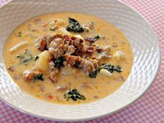 """""""OIive Garden's"""" Zuppa Toscana...Made this and it was soooo good. Be sure to drain sausage grease."""